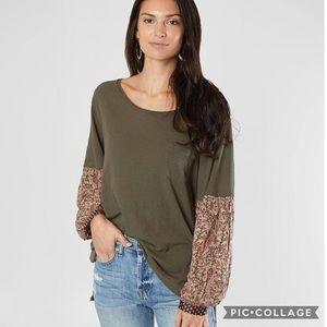 Free People Colorblock Long Sleeve Pocket TShirt M
